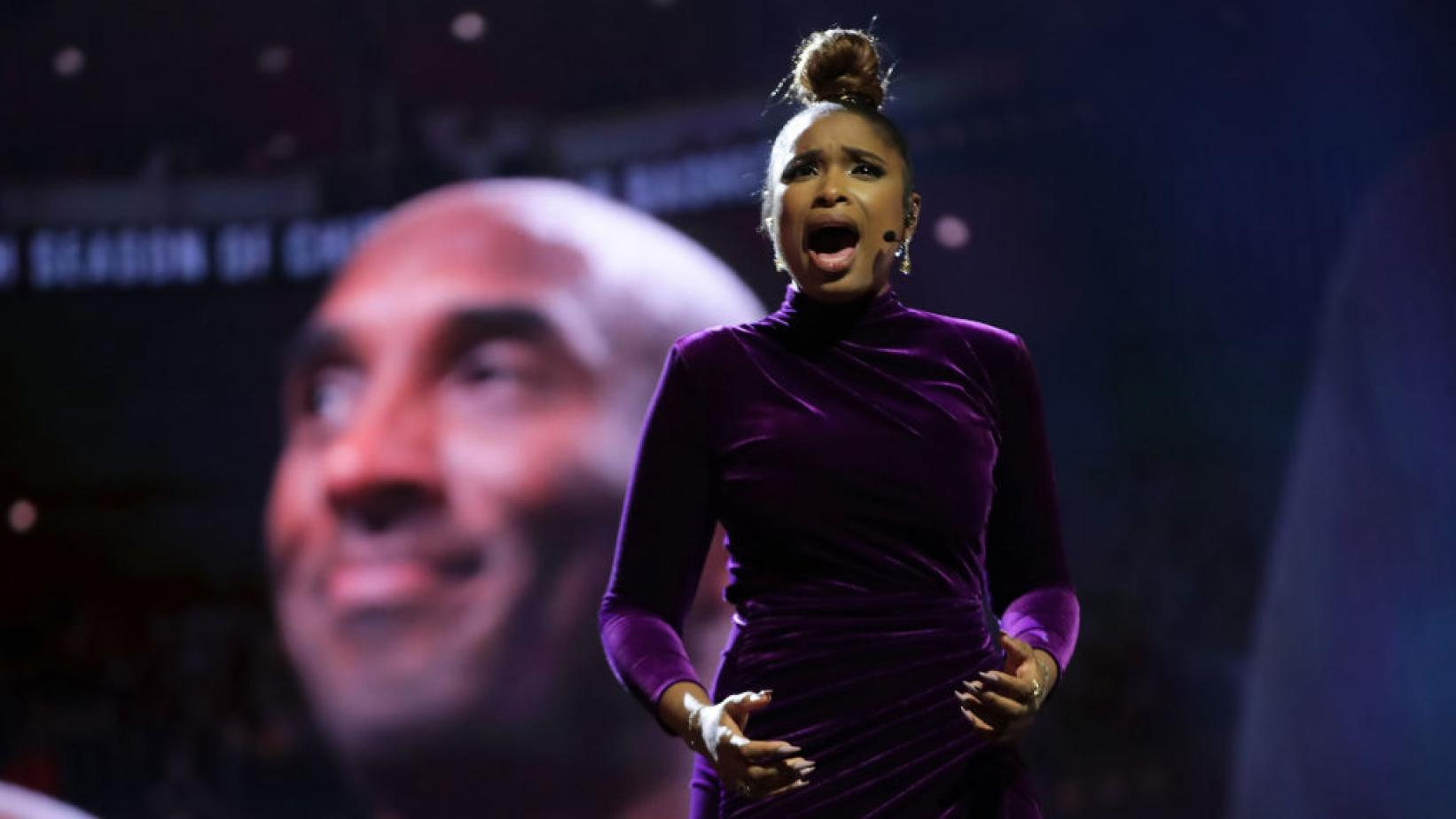 Jennifer Hudson performs a tribute to Kobe Bryant at the 2020 NBA All-Star Game