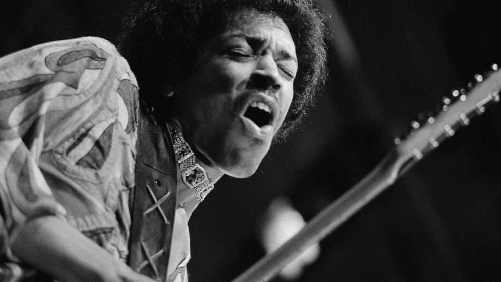 Jimi Hendrix performs at the Isle of Wight Festival in 1970
