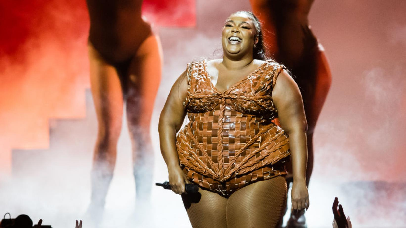 Lizzo performs during at the 2020 BRIT Awards