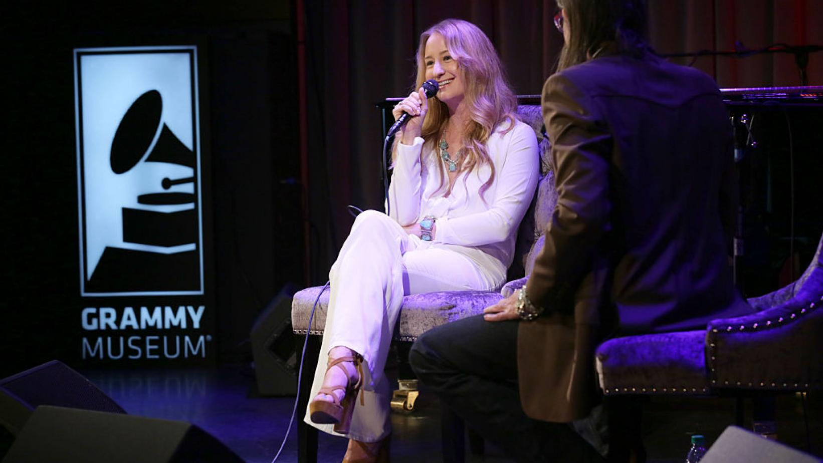 Margo Price (L) speaks at the GRAMMY Museum in Los Angeles in 2016