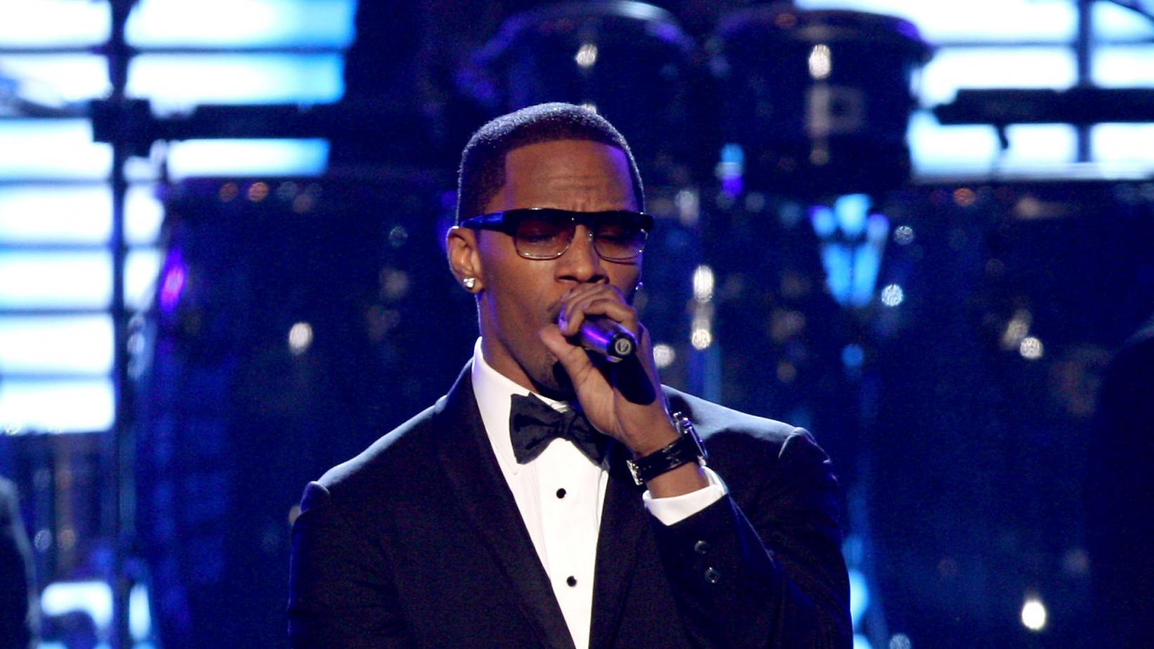Jamie Foxx onstage at the 51st GRAMMYs
