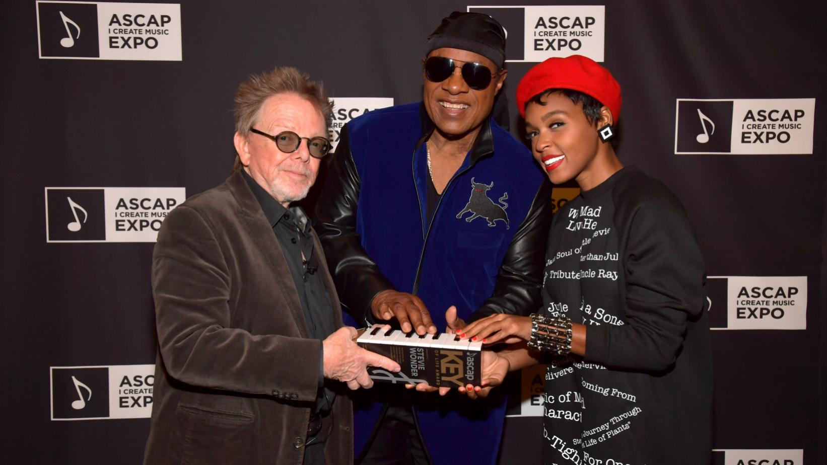 Stevie Wonder, Janelle Monáe and Paul Williams at the 2017 ASCAP Expo