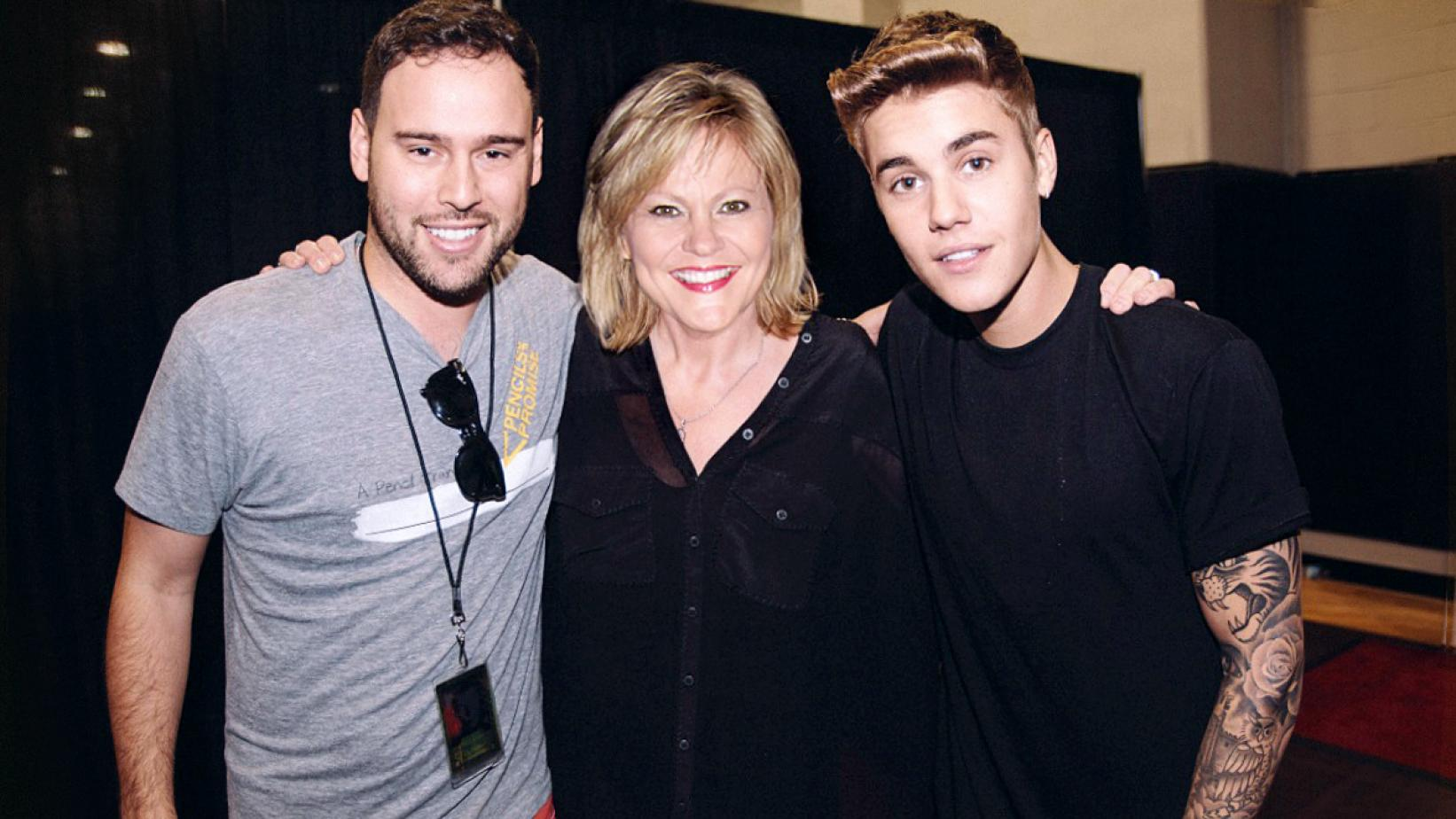 Scooter Braun, Justin Bieber's manager; Jan Smith; and Justin Bieber