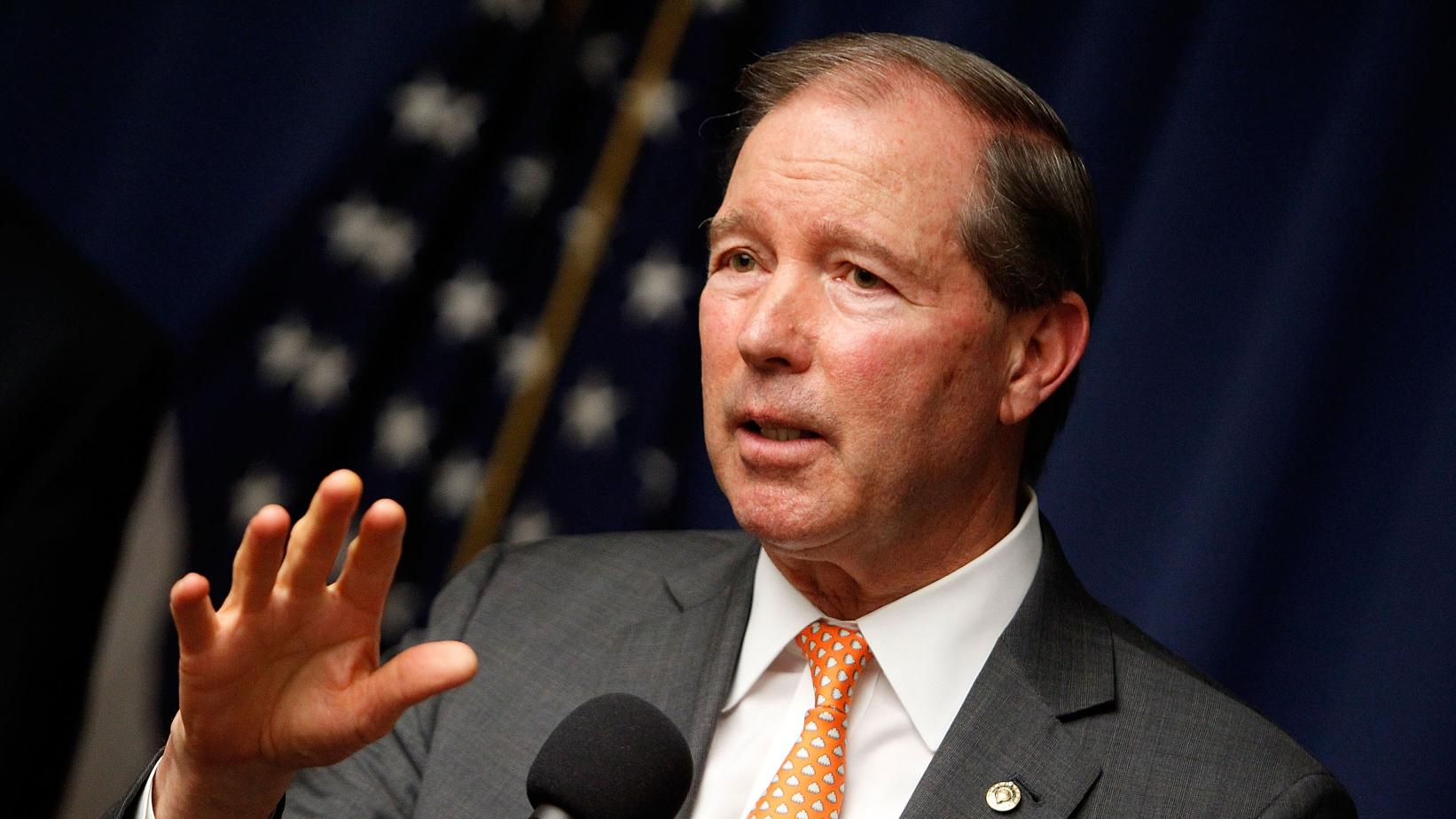Senator Tom Udall speaks at a 2016 press conference