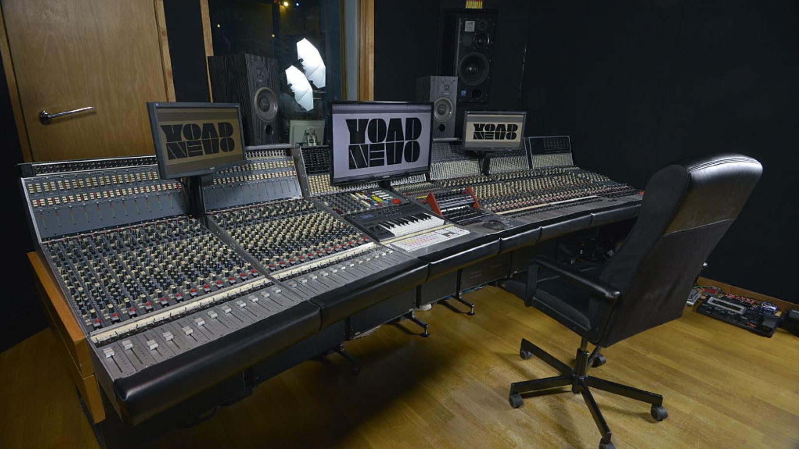 Mixing desk inside Nevo Sound Studios in London