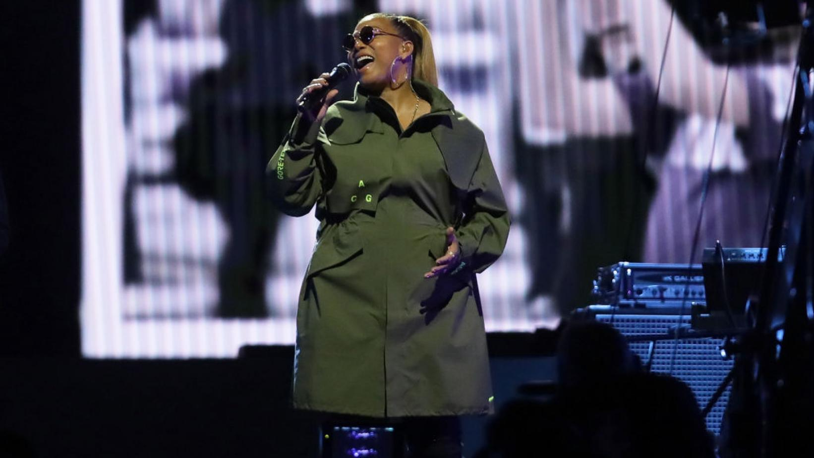 Queen Latifah performs during the2020 NBA All-Star Weekend