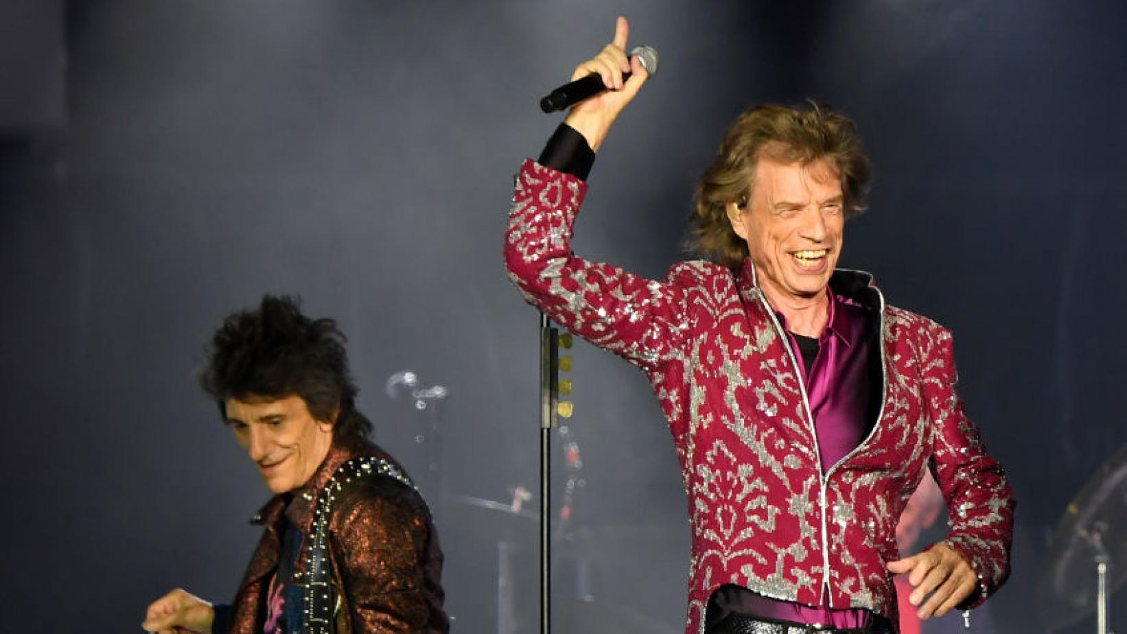 Ronnie Wood and Mick Jagger of The Rolling Stones perform in 2019