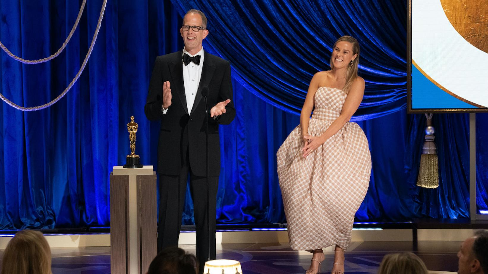 Photo of (L-R) Pete Docter and Dana Murray accepting the Animated Feature Film award for 'Soul' at the 2021 Oscars