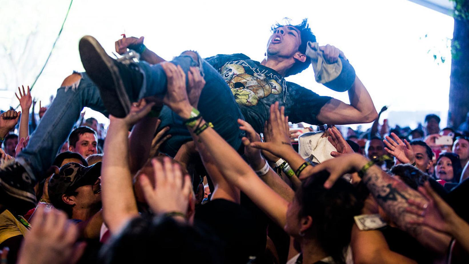 Fans crowd-surf at SXSW 2016