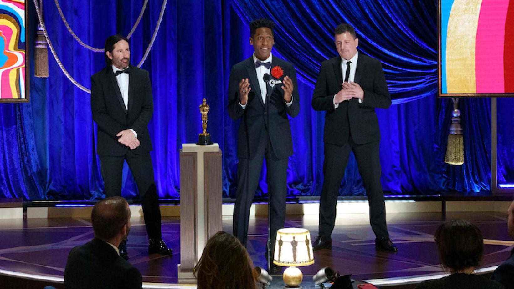 Photo of  (L-R) Trent Reznor, Jon Batiste, and Atticus Ross accepting the Music (Original Score) award for 'Soul' at the 2021 Oscars