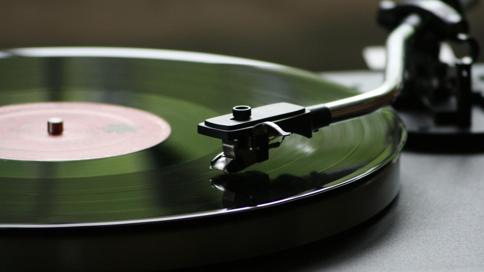 Turntable playing a vinyl record
