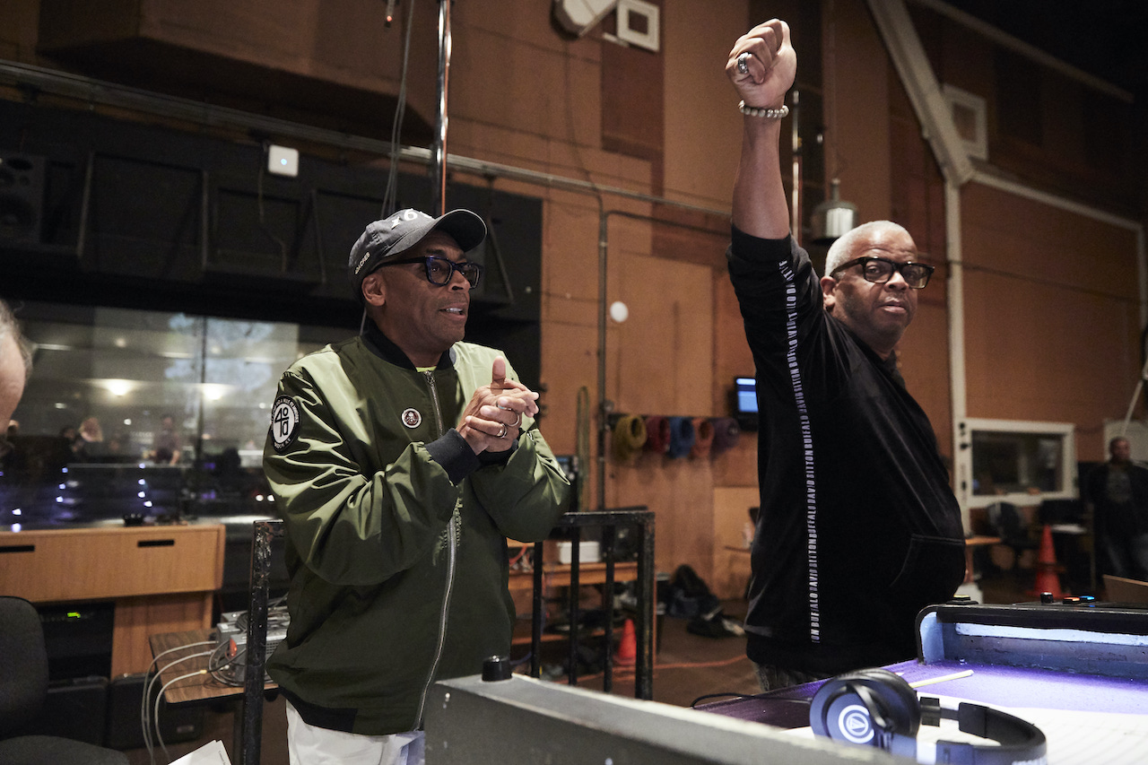 Spike Lee (L) and Terence Blanchard (R) at a scoring session for 'Da 5 Bloods'