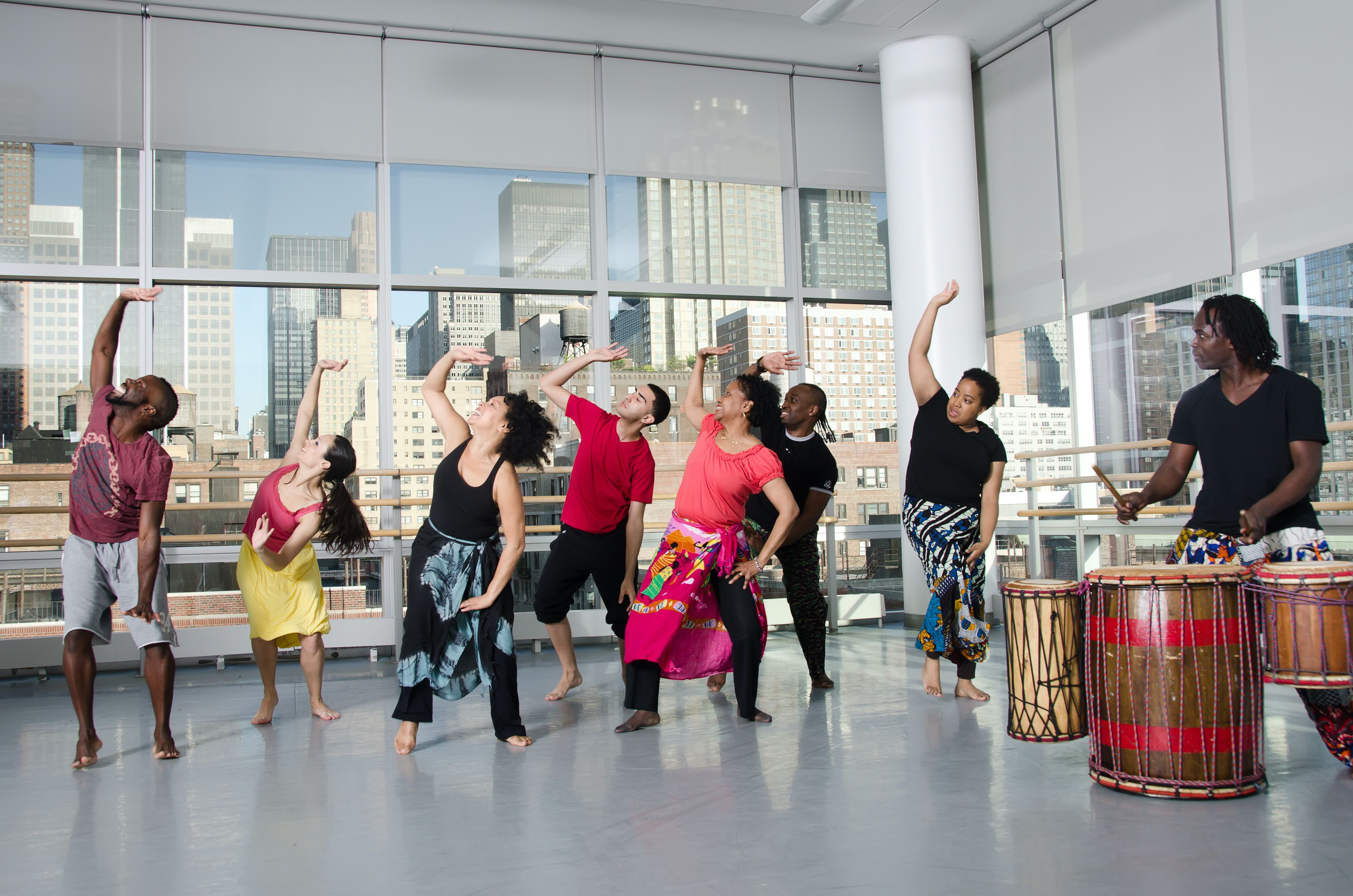 students dance at the West African class at the Ailey Extension